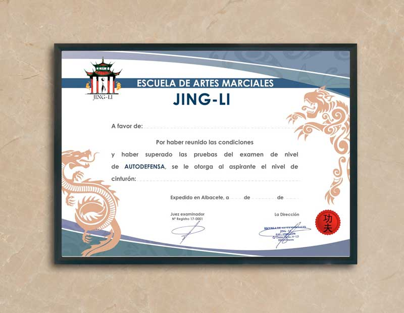 diploma autodefensa Jing-Li