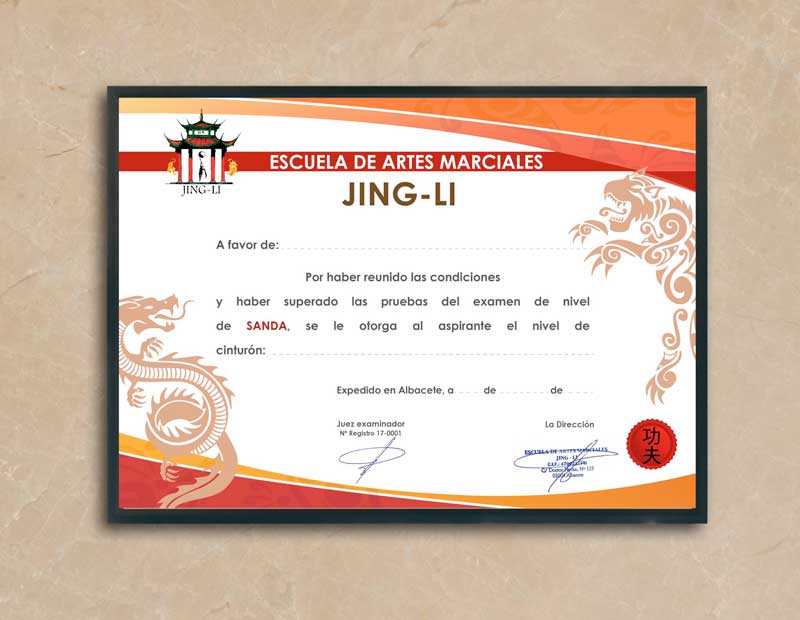 Diseño Diploma Escuela Artes Marciales Jing-Li sanda