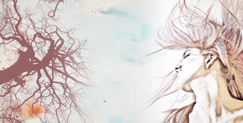 diseño mujer cabello al viento y arbol