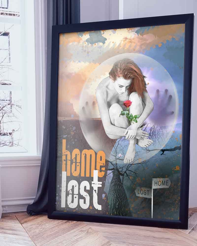Diseño poster mujer burbuja