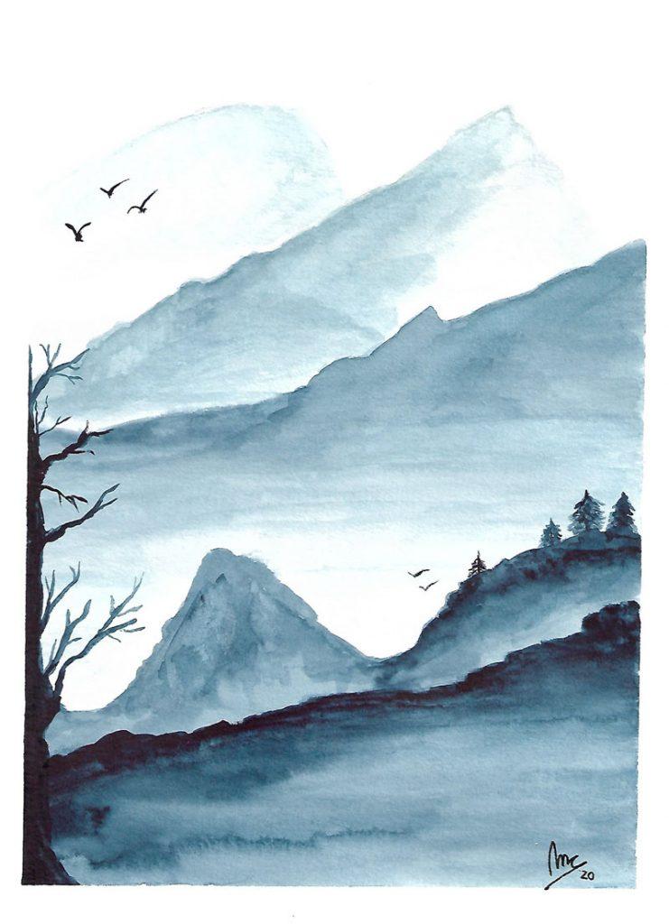 Acuarela montañas lejanasº