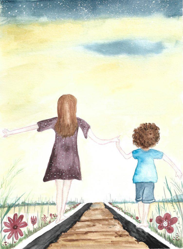 Mamá y niño caminando