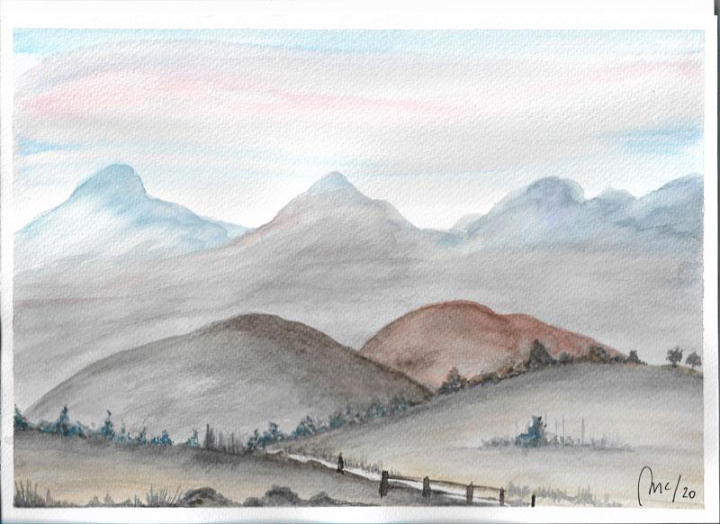 Paisaje montañas y valla