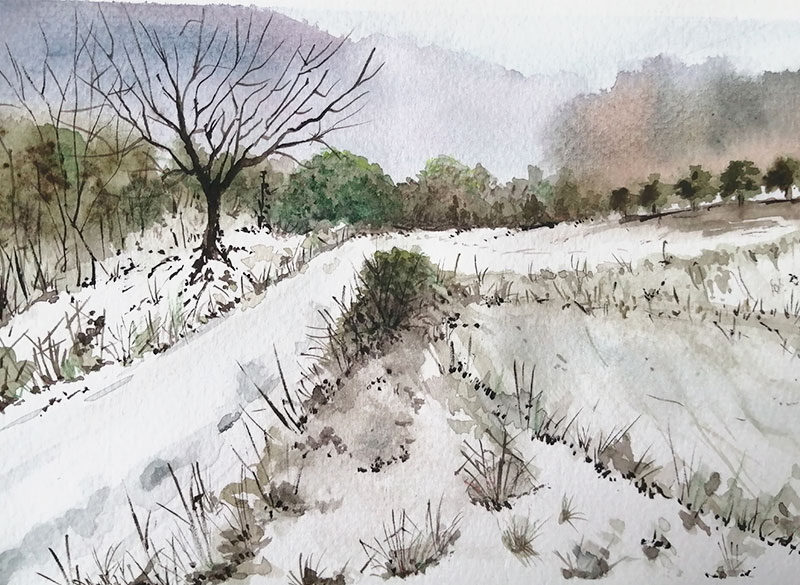 paisaje nevado acuarela