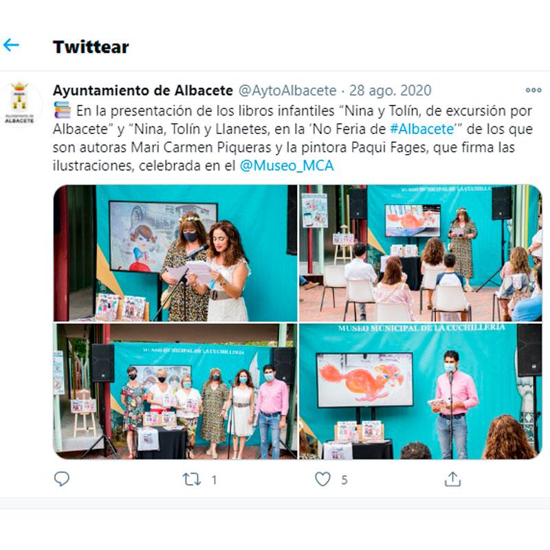 twit del Ayuntamiento de Albacete de Nina y Tolín
