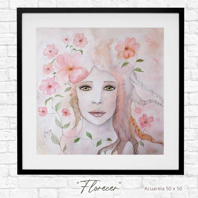 """Obra presentada para la exposición, """"Florecer"""", 50 x 50 cm."""