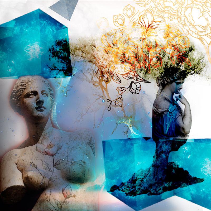 """Collage digital con título """"Clásico moderno"""""""